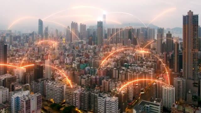 香港市内航空写真ビューでネットワーク接続の概念 - ネットワーク点の映像素材/bロール
