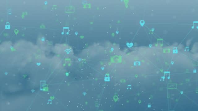 vídeos de stock, filmes e b-roll de rede de ícones de conexão contra céu azul - composição