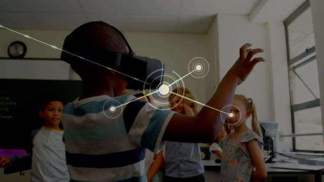 Network of connections with schoolboy wearing VR headset
