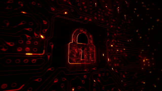 Network security. Lock with circuit board. Firewall. Loopable. Technology. Orange. Circuit board animation with moving electrons and a pad lock. Computer security. Firewall. padlock stock videos & royalty-free footage