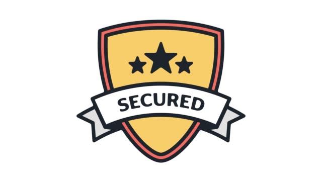 сетевой безопасности щит линии значок анимации с альфа - замок средство безопасности стоковые видео и кадры b-roll