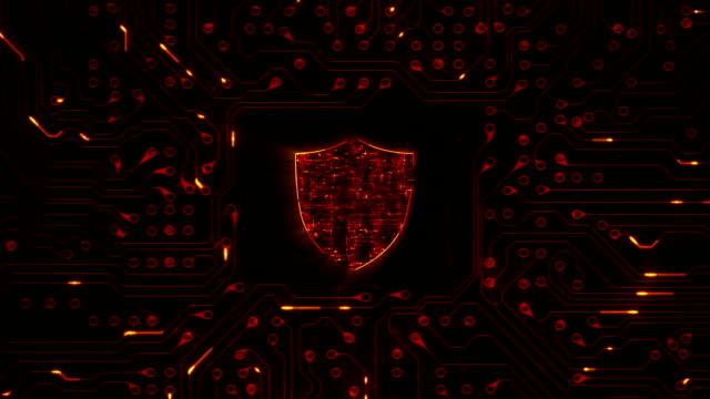 Network security. Shield with circuit board. Loopable. Firewall. Technology. Zoom. video