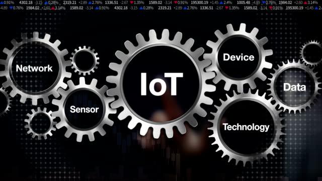 Network, Sensor, Data, Technology, Device,Businessman touch Gear keyword,  'IOT' video