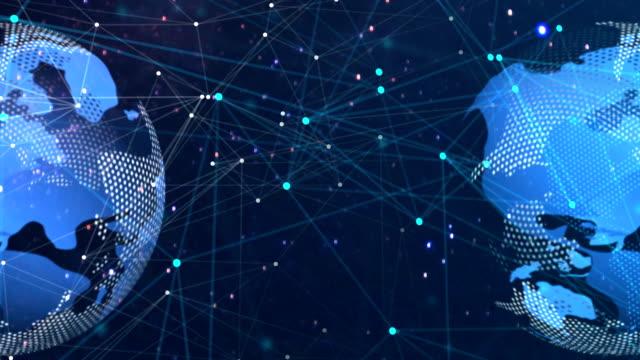 ノードがバックグラウンドに接続されたネットワーク。グローバルネットワークのコンセプト - 鎖の輪点の映像素材/bロール