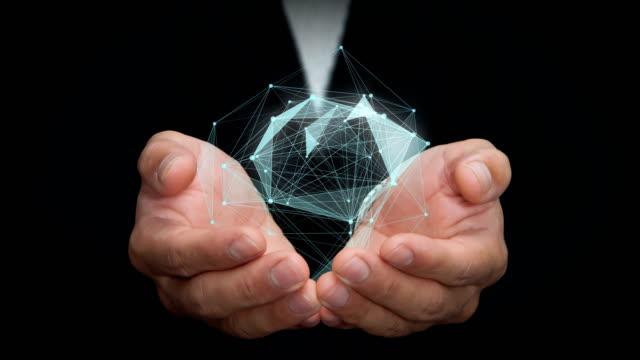 Networking on businessman hands. – film