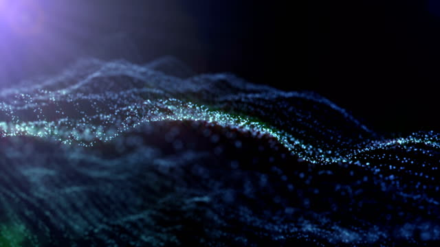 Neural network of glowing dots. Seamless loop animation 3D render. Abstract animation 4k.