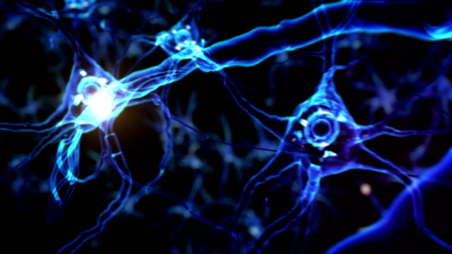 Neuron cell. Eye. Blue. Gray skin. video