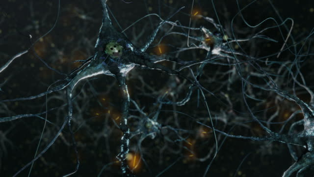 Neuron cells, synapse. Cold colors. Network connections. Brain. video