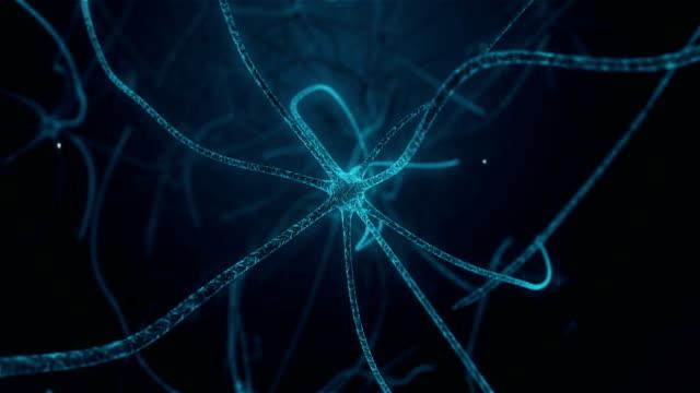 stockvideo's en b-roll-footage met neuron na verloop van synaps in neuron cel van neuronale menselijk weefsel - visuele hulpmiddelen
