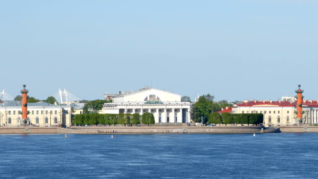 neva and spit of the vasilievsky island in the summer day - st. petersburg, russia - san pietroburgo russia video stock e b–roll