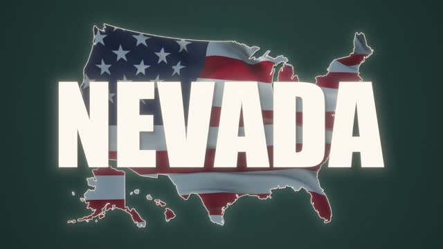 USA Nevada State text. Waving Flag United States Of America.