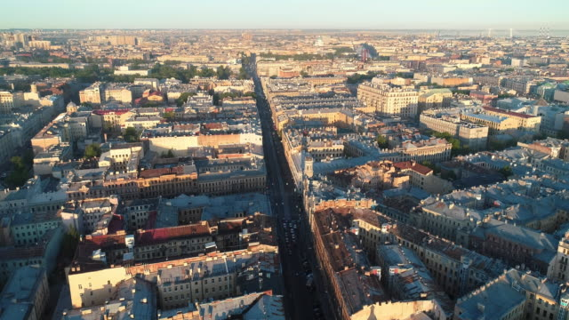 nevsky prospect from roof top - treedeo saint petersburg stock videos & royalty-free footage