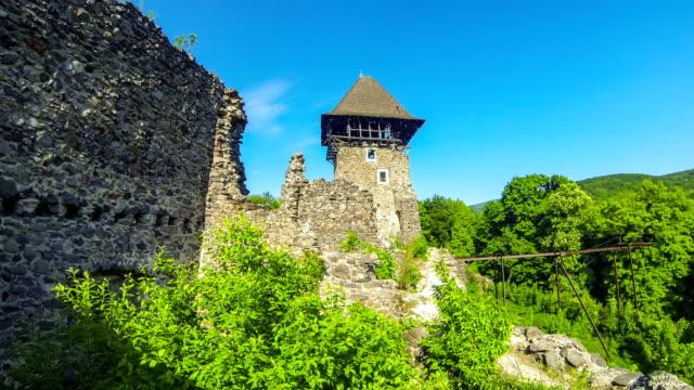 nevytske castle, semi-ruined castle near uzhhorod, ukraine - transcarpazia video stock e b–roll
