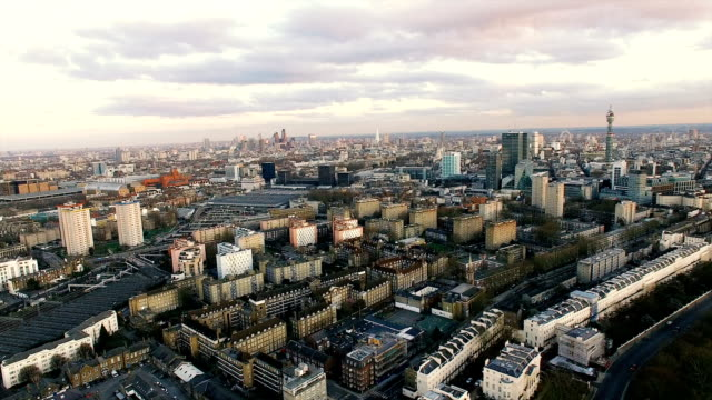 New Aerial View of Modern London City Town 4K video