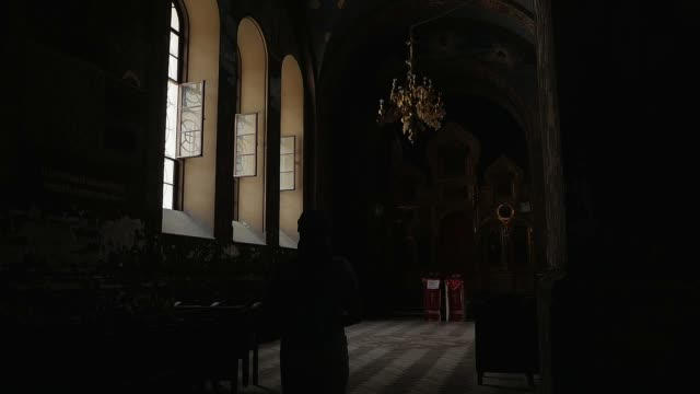 New Athos monastery. Orthodox Christian Church. Inside the temple video