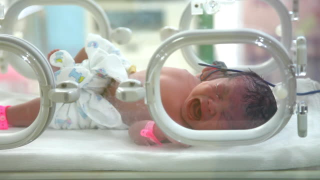 New born is measured pulse in a nursery after childbirth video