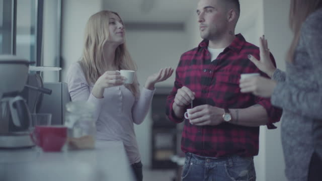 New business team in the startup office:coffee break video