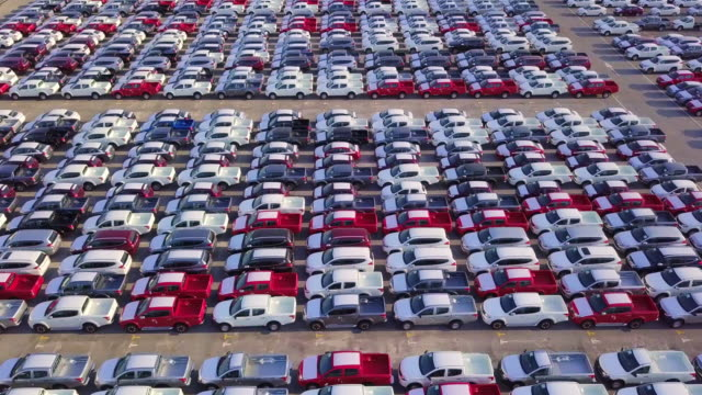 New car lined up in the port for business car import and export logistic, Aerial view. New car lined up in the port for business car import and export logistic, Aerial view. car salesperson stock videos & royalty-free footage