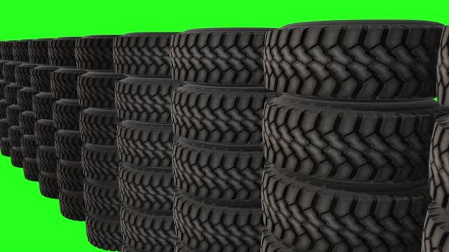 animazione di stoccaggio ruote pneumatici per auto nuove. - truck tire video stock e b–roll