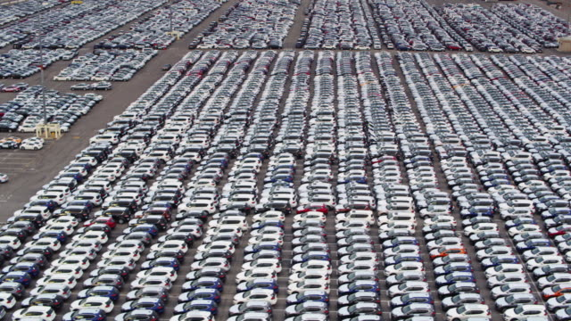 New Cars in the Port of Los Angeles - Drone Shot video