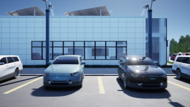 New cars on parking of dealership