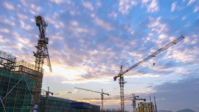 new construction site in hangzhou at sunset timelapse video