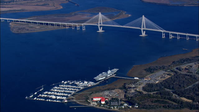 New Cooper River Bridge  - Aerial View - South Carolina,  Charleston County,  United States This clip was filmed by Skyworks on HDCAM SR 4:4:4 using the Cineflex gimbal. South Carolina,  Charleston County,   United States south carolina stock videos & royalty-free footage