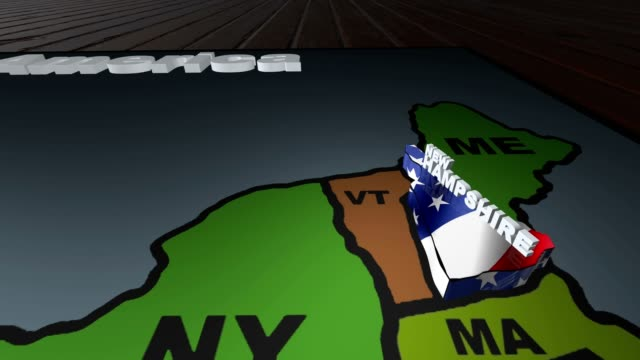 New Hampshire pull out from USA states abbreviations map video
