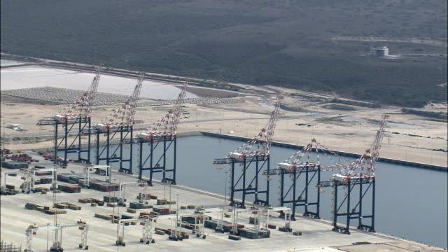 New Harbour At Port Elizabeth  - Aerial View - Eastern Cape,  Nelson Mandela Bay Metropolitan Municipality,  Nelson Mandela Bay,  South Africa video
