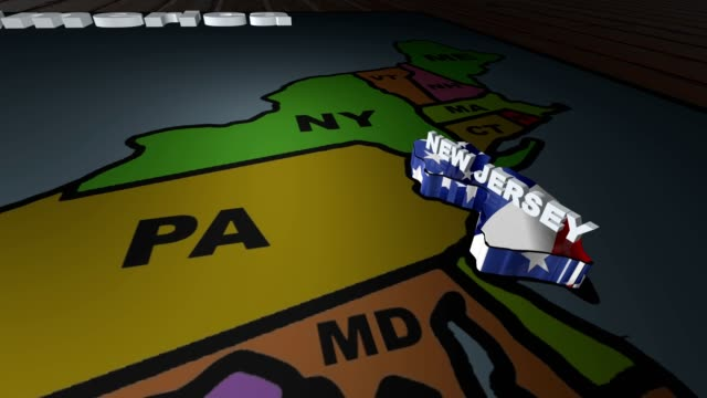 New Jersey pull out from USA states abbreviations map video
