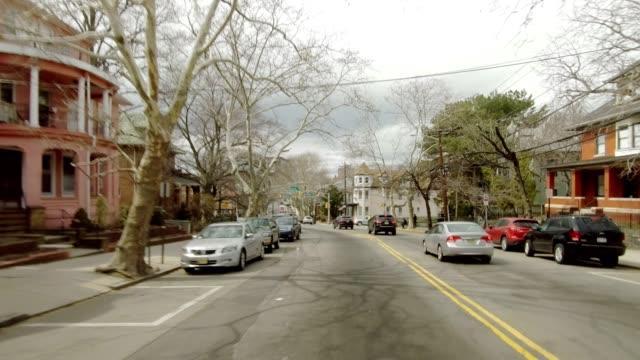 new jersey xxxxvii series rear driving studio process plate background - жилой район стоковые видео и кадры b-roll