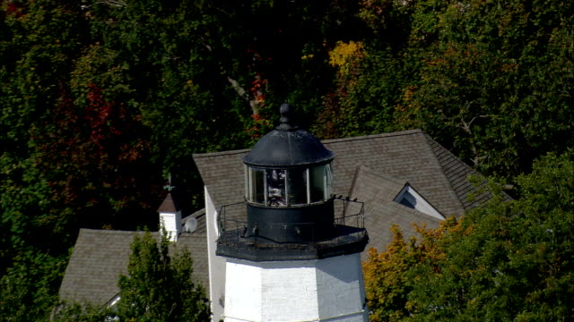New London Harbour Light  - Aerial View - Connecticut,  New London County,  United States video