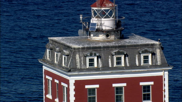 New London Ledge Light  - Aerial View - Connecticut,  New London County,  United States video