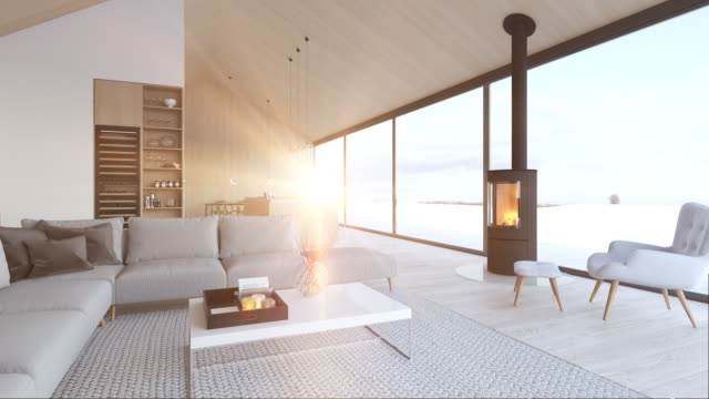 new modern scandinavian loft apartment. 3d rendering 3d rendering. loft apartment with living room and kitchen. living room stock videos & royalty-free footage
