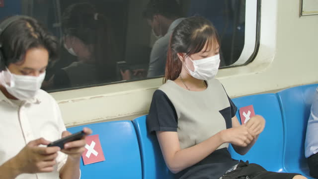 New normal lifestyle, group of asia passenger various professions on metro subway train wearing mask, woman uses hand sanitizer liquid, keep social distancing. Protection Section of pandemic covid-19