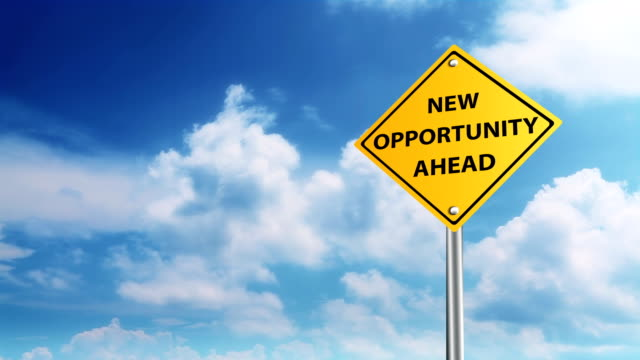 New opportunity ahead New opportunity ahead road sign on sky background chance stock videos & royalty-free footage