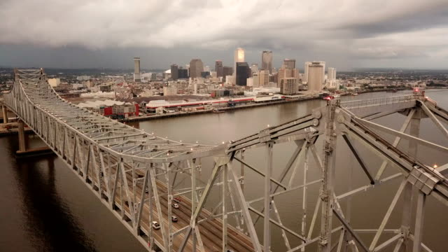 New Orleans Aerial View Ascended Over the Mississippi River Highway Bridge Deck
