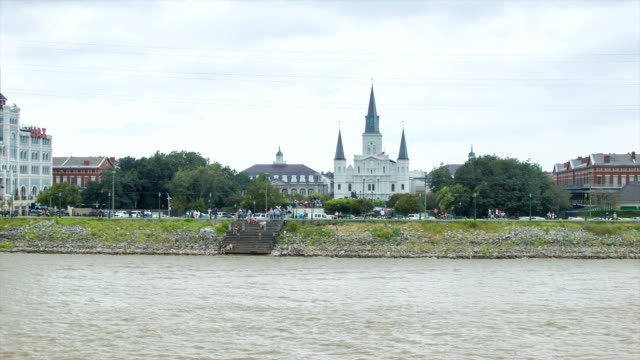 New Orleans French Quarter Seen from MIssissippi River video