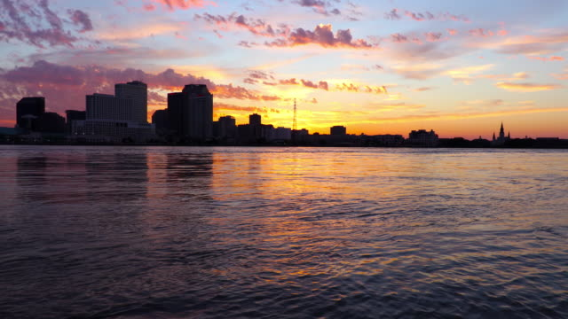 New Orleans skyline along the Mississippi River video