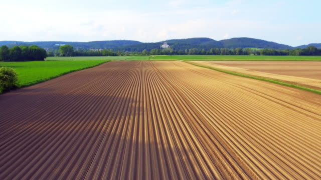 New Plowed Potato Field And Walhalla Memorial In Spring video