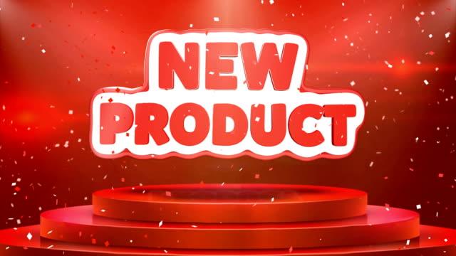 vídeos de stock e filmes b-roll de new product  text animation stage podium confetti loop animation - new