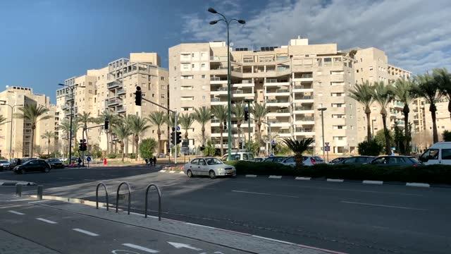 New Ramat Aviv , modern area in the north of Tel Aviv, built in the 21st century. 4K. Israel