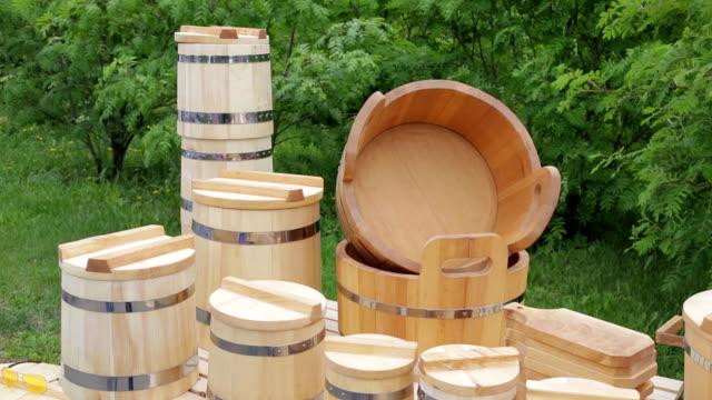 New wood - tub,bucket,mug and utensils video