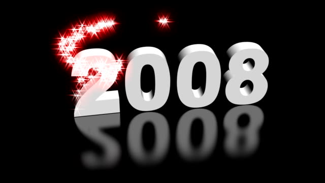 New Year 2009 with glittering particles spinning 2008 converting into 2009 with spiral sparkling particles effects. colloid stock videos & royalty-free footage