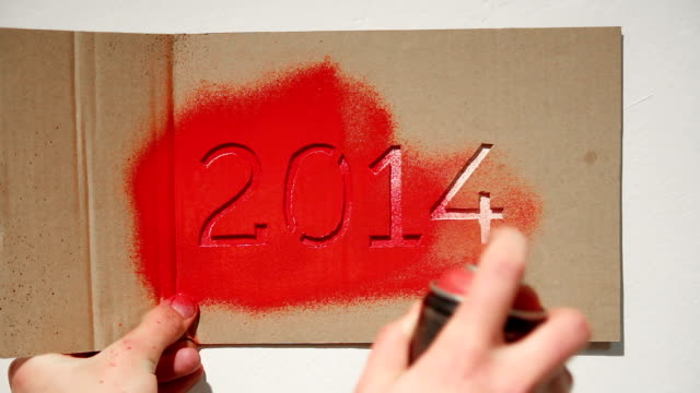 New year 2014 graffiti stencil painting video