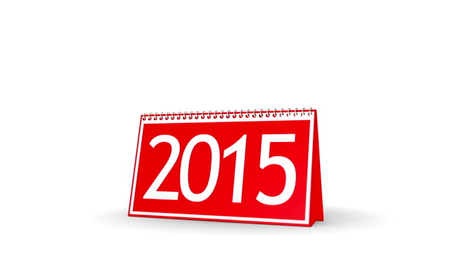 New Year 2016 Calendar (with Matte) Calendar turning page from year 2015 to 2016. Perfect for your own background. No motion blur, clean mask. 2015 stock videos & royalty-free footage