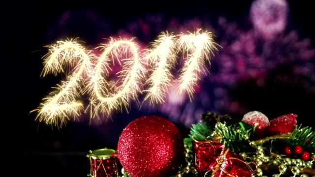 new year 2017 greetings and fireworks loop video