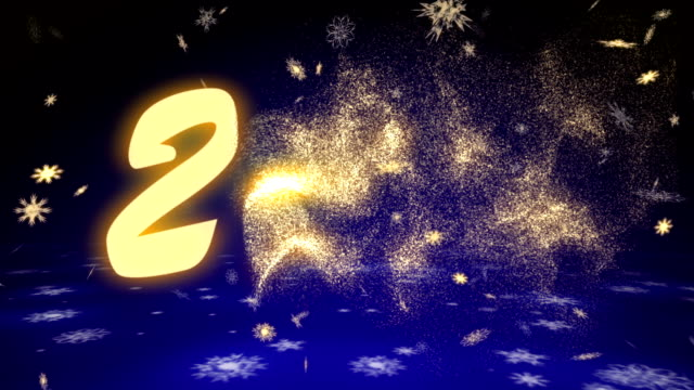 New Year 2018 from snowflakes on a dark blue background. video