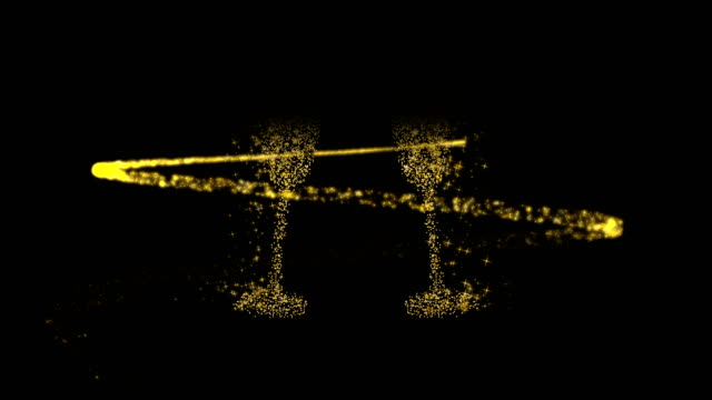 New Year 2019 gold champagne toast card animation Happy New Year 2019 gold champagne toast background template, glitter trail making drink glass shapes. Elegant golden card for celebration event or holiday party. 4k quality animation footage. new year's eve stock videos & royalty-free footage