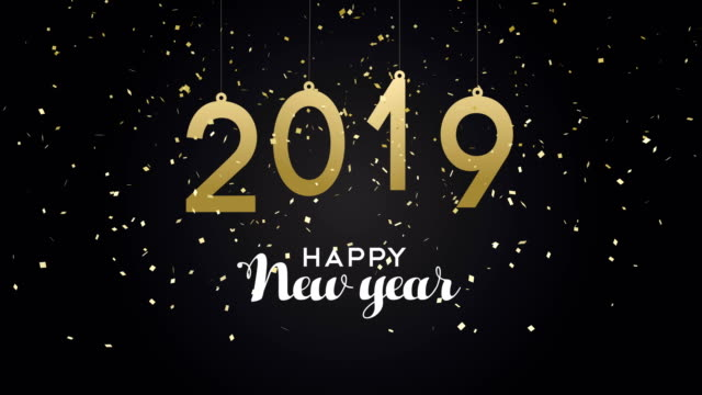 New Year 2019 party confetti card animation Gold New Year 2019 animation of calendar date with party confetti explosion. Elegant golden card for celebration event. 4k greeting holiday footage. new year's eve stock videos & royalty-free footage